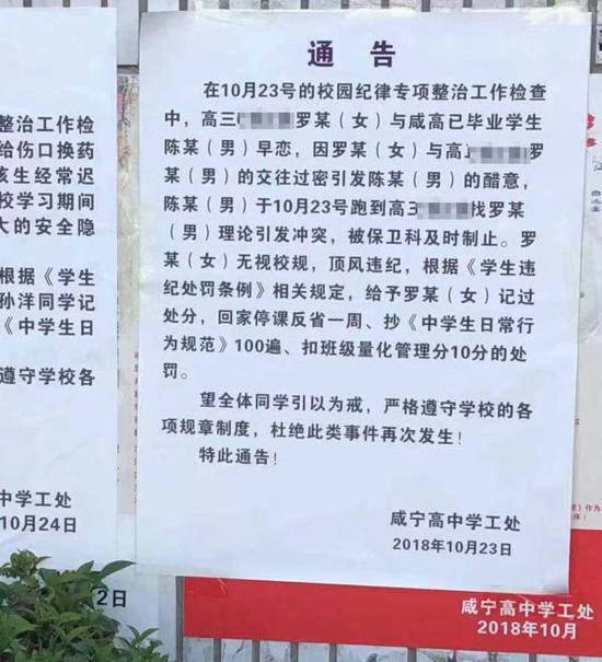 咸宁高中10月23日发布对该校高三女生罗某的处罚通告。咸宁当地人士提供