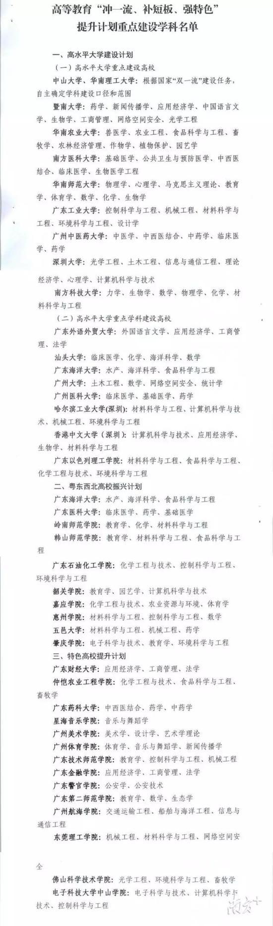 """广东高等教育""""冲一流、补短板、强特色""""提升计划重点建设学科。"""