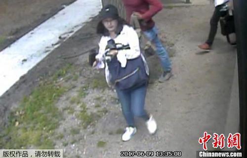 资料图片:章莹颖最后一次出现在监控录像中的画面。